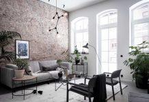 Tiiliseinä olohuoneessa