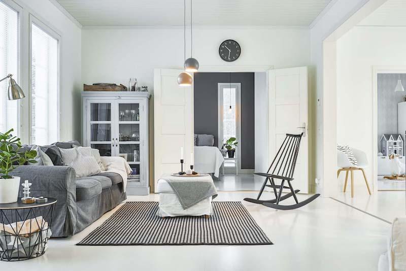 Kannustalo Lato olohuone valkoiset lattiat