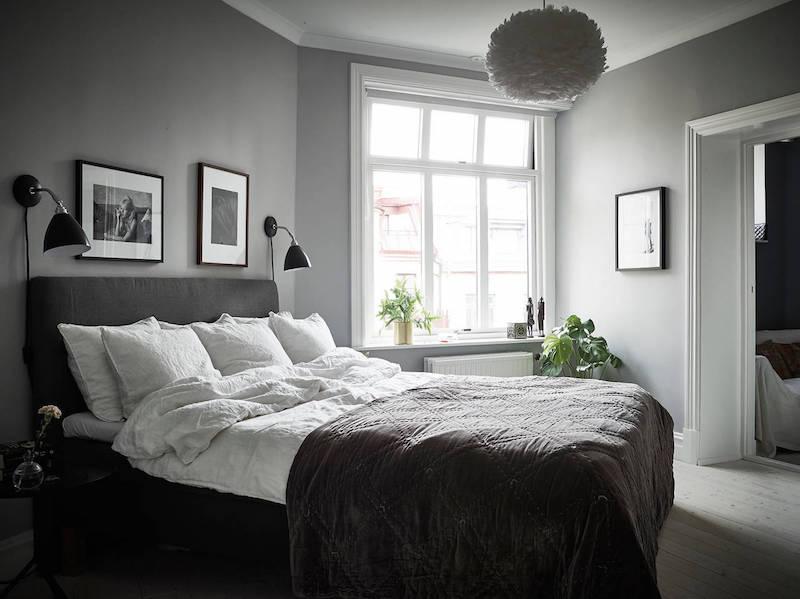 Elegantti mustavalkoinen sisustus makuuhuone harmaa - Camera da letto grigio ...