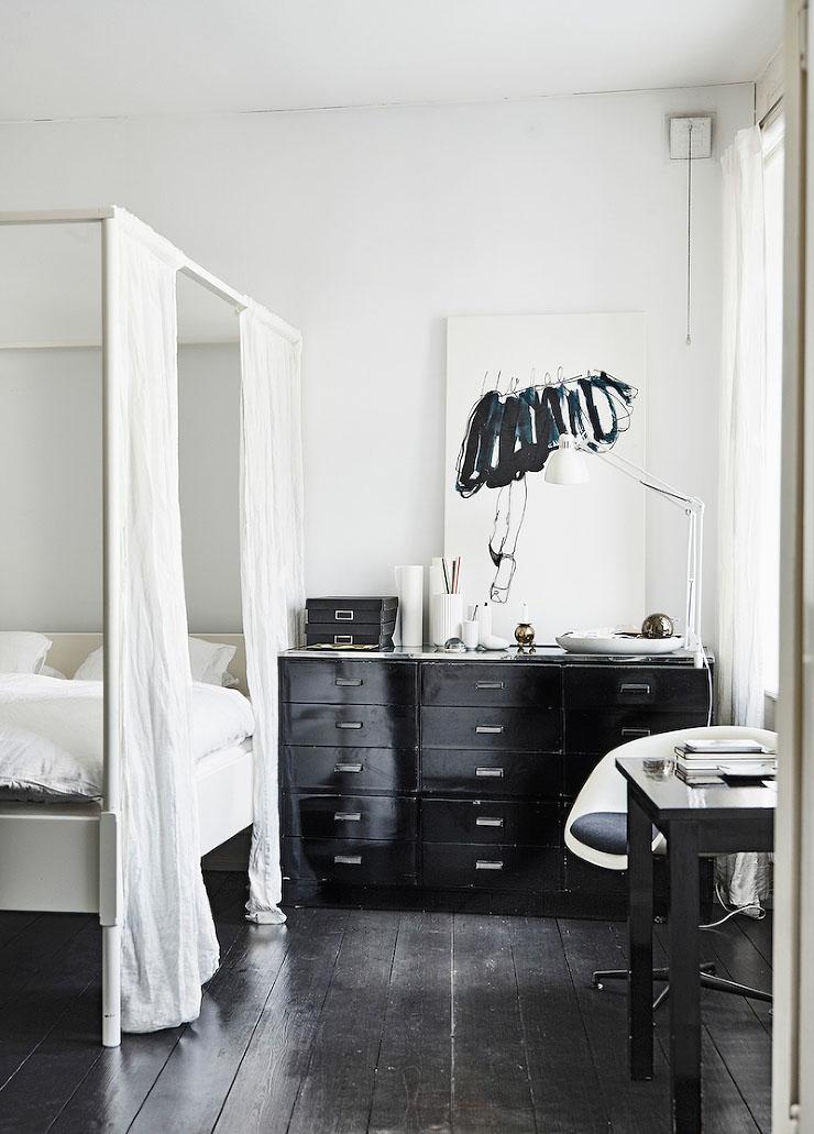 makuuhuone-mustavalkoinen-puu