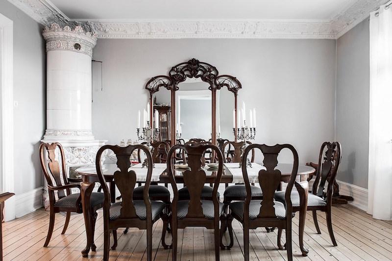 tyylikas-sisustus-antiikkia-ruokasali