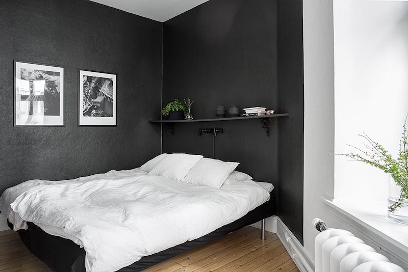 kaksion-sisustus-makuuhuone-mustavalkoinen