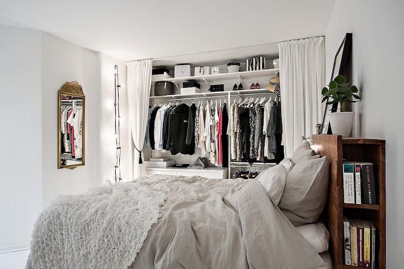 mustavalkoinen-tyyli-rento-makuuhuone
