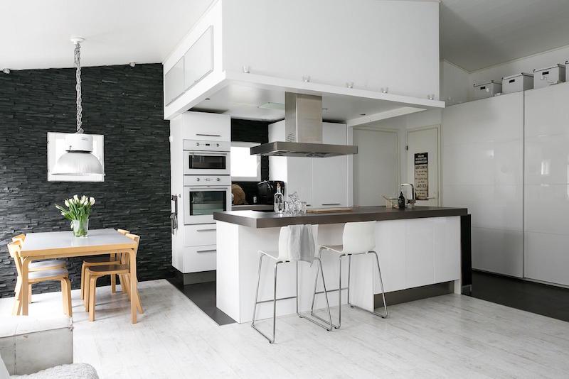 sisustus moderni mustavalkoinen keittio saareke  Sisustusblogi