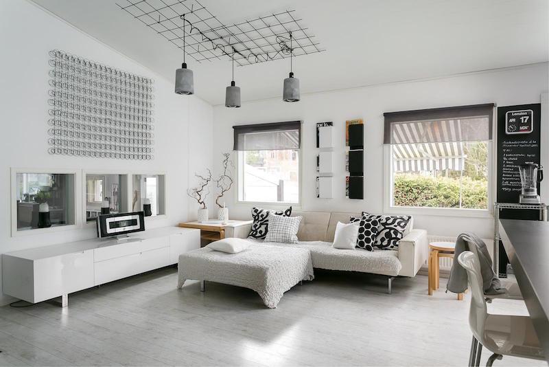 sisustus moderni mustavalkoinen olohuone sohva  Sisustusblogi