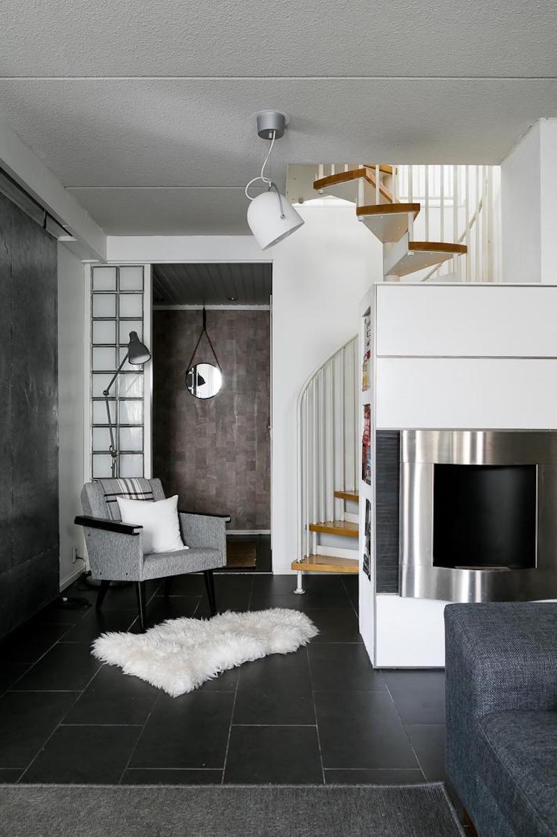 sisustus-moderni-mustavalkoinen-portaikko