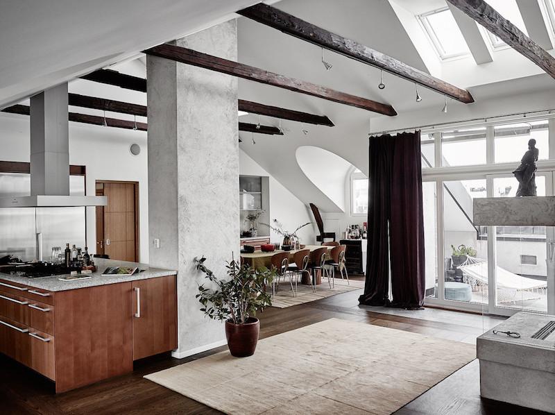 ylellinen-kattohuoneisto-sisustus