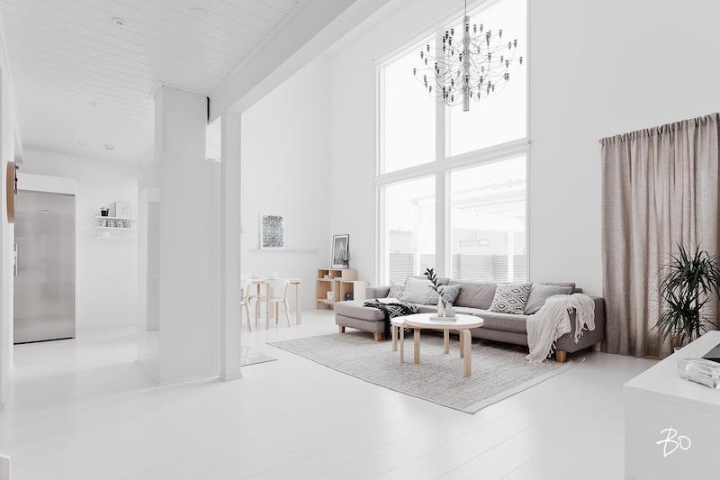 skandinaavinen kaunis vaalea olohuone avoin  Sisustusblogi