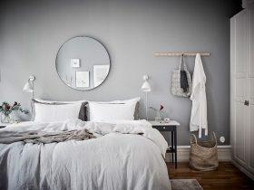 sisustus-harmaan-savyt-makuuhuone