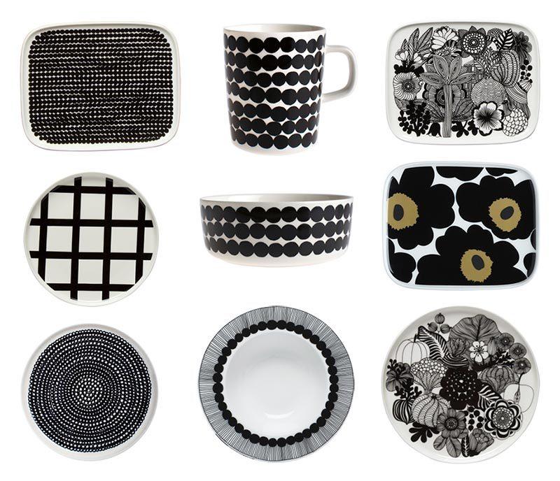 Marimekko mustavalkoiset astiat