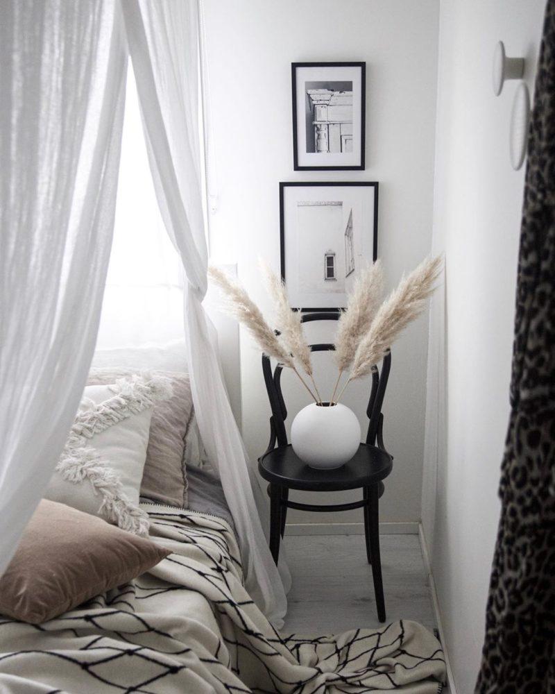 Makuuhuone hento ja kaunis sisustus