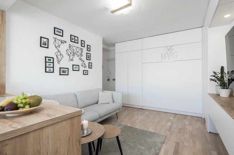 Tyylikäs ja kodikas yksiö seinäsänky