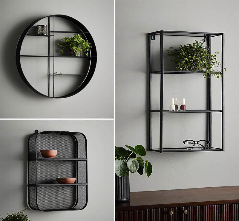 Mustat seinähyllyt
