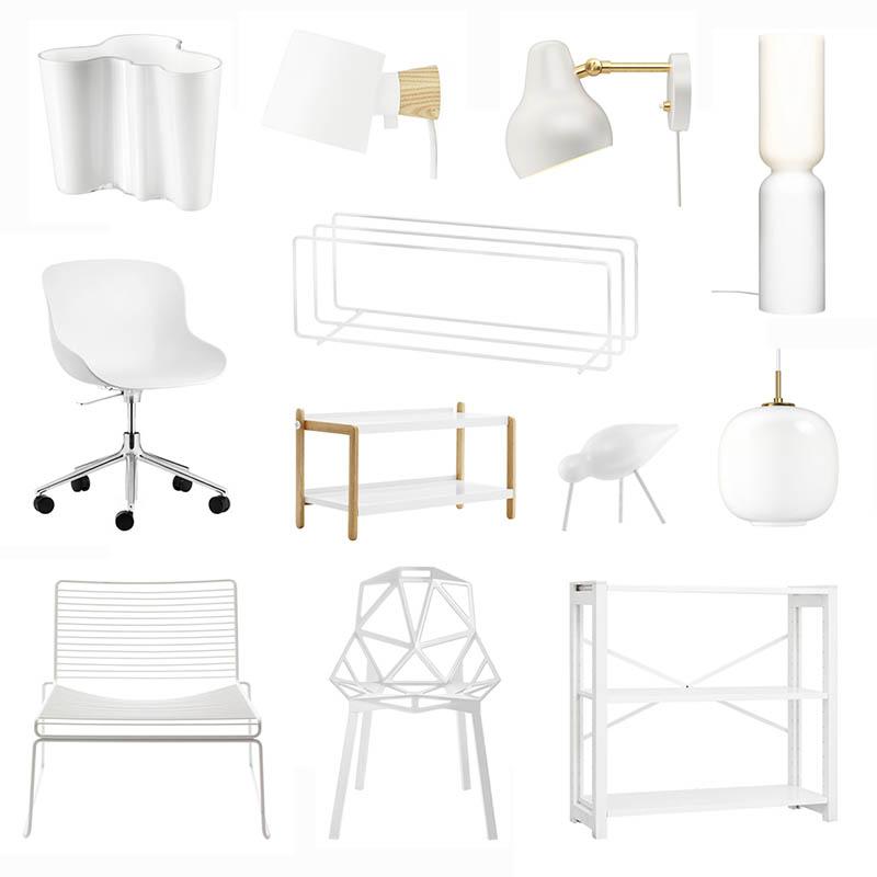 Valkoiset huonekalut ja sisustus