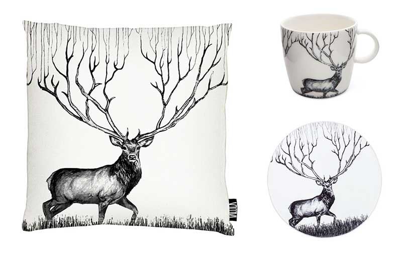 Vallila Infinite Deer tyyny, muki ja matto